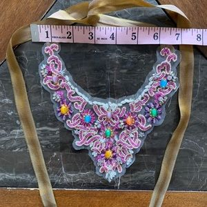 Anna Sui Embroidered Lace Jewelry Choker Necklace